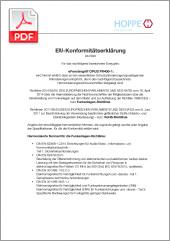 HOPPE CE-Konformitätserklärung für deneFenstergriff OPUS FR400-1 (1,03 MB)