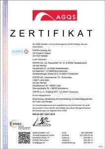 HOPPE Zertifikat DIN EN ISO 14001:2015 (Umwelt-Management)