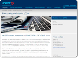 HOPPE 好博决定取消参加 2020年纽伦堡FENSTERBAU FRONTALE展会