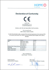 Prohlášení o shodě CE HOPPE pro eKliku ConnectHome s rádiovou rozetou FR-415 a FR-416(0,15 MB)