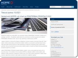 Společnost HOPPE ruší účast na FENSTERBAU FRONTALE 2022