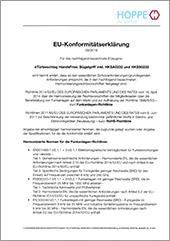 HOPPE EU-Konformitätserklärungfür eTürbeschlag HandsFree (Bügelgriff)inkl. HKSA0232 und HKSS0232(3,2 MB)