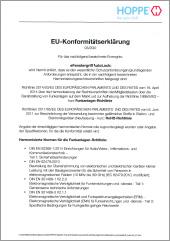 Deklaracja zgodności UE od HOPPE na eKlamkę AutoLock(0,49 MB)