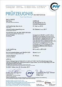Certyfikat testu DIN 18257