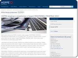 HOPPE rezygnuje z uczestnictwa w targach FENSTERBAU FRONTALE 2022