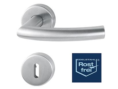 Гарнитур из дверных ручек на розетке из нержавеющей стали