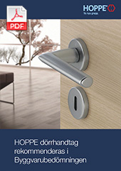 HOPPE dörrhandtag  rekommenderas i Byggvarubedömningen (0,2 MB)